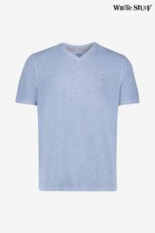 White Stuff Abersoch Schlichtes T-Shirt aus Bio-Baumwolle mit V-Ausschnitt, blau
