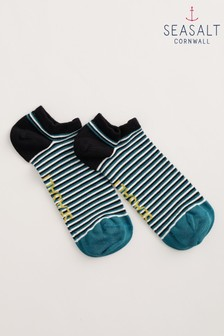 Seasalt Cornwall藍綠色梯形水彩士兵男裝運動襪