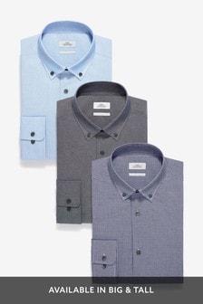 מארז שלוש חולצות עם טקסטורה ומשבצות