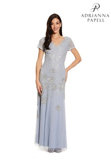 Adrianna Papell Blue Beaded Short Sleeve Gown