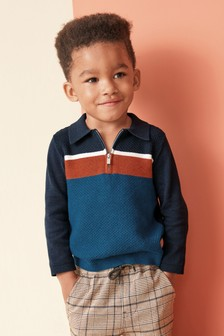 Textured Knitted Colourblock Polo (3 Monate bis 7 Jahre)