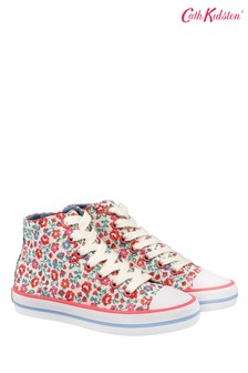 Cath Kidston White Ashbourne Ditsy Kids High Top Trainers