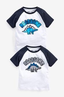Tričko s krátkymi rukávmi a flitrovou aplikáciou dinosaura (9 mes. – 7 rok.)