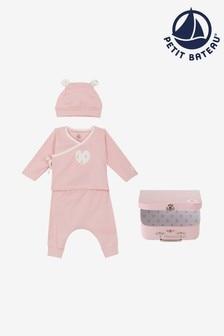 Petit Bateau dreiteiliges Outfit-Set, Pink