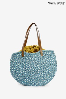 White Stuff Blue Amal Half Moon Jute Bag