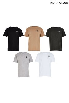 River Island Grey 5 Pack Core T-Shirts