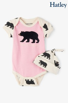 Hatley Pink Bearly Sleeping Baby Bodysuit And Hat