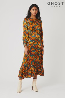 Ghost London Orange Coco Floral Print Satin Dress