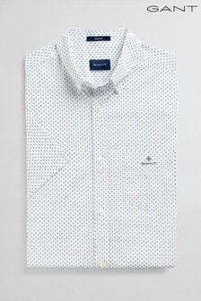 Chemise GANT blanche classique imprimée en drap fin