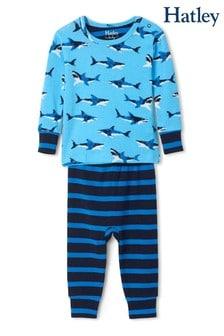 Set pijama Hatley Great albastră din bumbac organic cu rechini albi