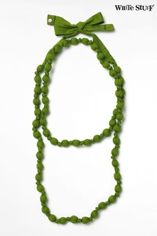 White Stuff Green Long Fabric Necklace