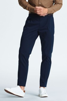 Cotton Blend Stretch Pleated Chino Trousers