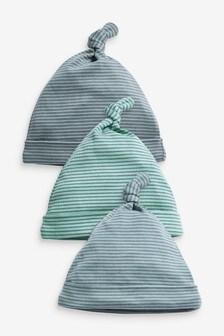 Три полосатые шапочки с узелками сверху (0-18мес.)