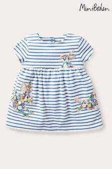 Boden藍色大貼花平織連衣裙