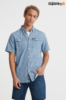 Superdry Blue Ikat Short Sleeve Denim Shirt