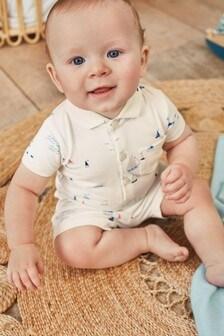 Set body cămașă și pantaloni scurți din jerseu cu model bărcuțe (0 luni - 2 ani)