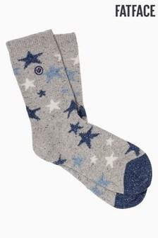 FatFace MelierteStiefelsocken mit Sternenmuster, Grau