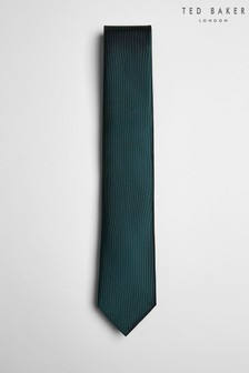 Zielony jedwabny krawat z diagonalu Ted Baker Blula
