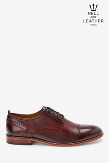 Contrast Sole Leather Toe Cap Shoes