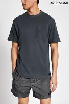 River Island Grey Nylon Panel T-Shirt