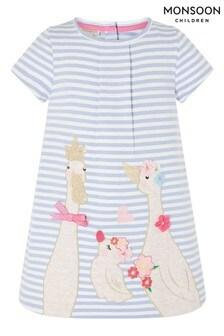 Monsoon藍色嬰兒裝小鴨圖案有機棉質運動連衣裙
