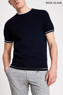 River Island Navy Moss Stitch Tipped Knit T-Shirt