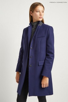 French Connection Blue Platform Felt Smart Coat