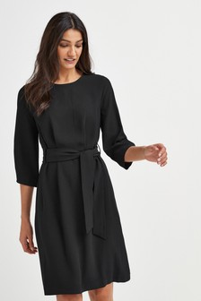 Crepe Belted Dress