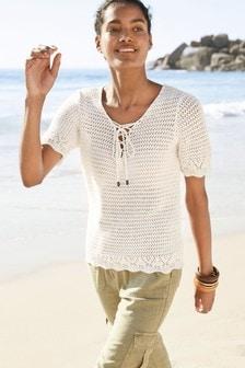 Lace-Up Crochet T-Shirt