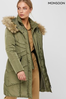 Monsoon Ladies Green Victoria Long Wrap Padded Jacket