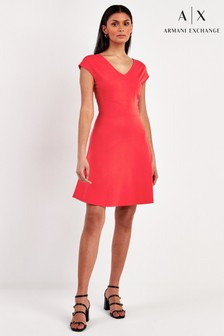 Armani Exchange Red Fit Flare Dress