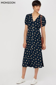 Monsoon Ladies Blue Percy Spot Print Button Dress