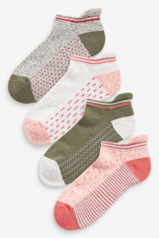 Cushion Sole Trainer Socks 4 Pack