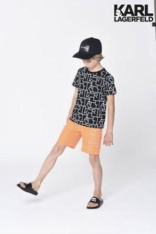 Karl Lagerfeld Orange Logo Swim Shorts