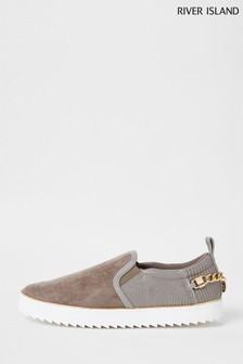 River Island Grey Trim Slip-On Shoes