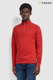 Farah Red Jim 1/4 Zip Sweatshirt