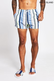 River Island White Stripe Texture Swim Shorts