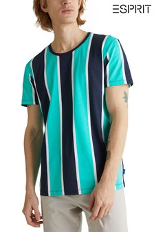 Esprit Green All Over Vertically Striped T-Shirt