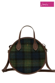 Joules Blue Fulbrook Round Mini Tweed Bag