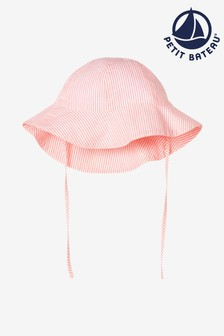 Petit Bateau Seersucker-Sonnenhut, Pink