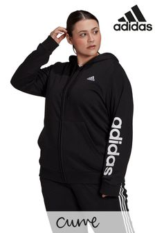 adidas Curve Linear Logo Zip Through Hoodie