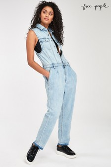 Free People Denim-Overall in heller Waschung