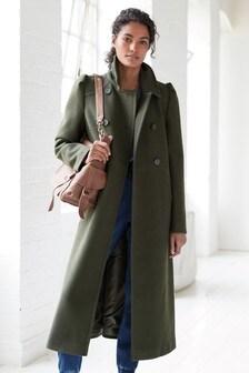 Manteau à ceinture à manches bouffantes