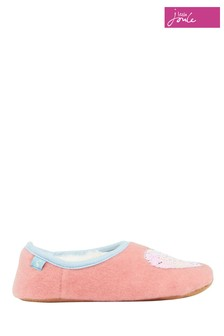 Joules Pink Slippet Felt Mule With Appliqué