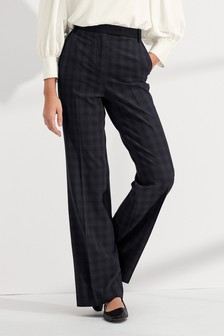 Contrast Textured Check Boot Cut Trousers