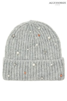 Accessorize Grey Pearl Sparkle Beanie
