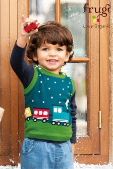Frugi GOTS Organic Christmas Train Knitted Tank Vest