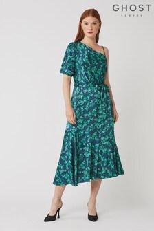 Ghost London Green Raina Ditsy Floral Print Satin Dress