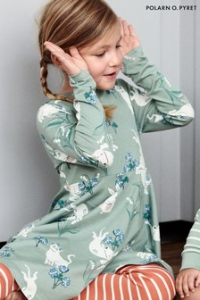 Polarn O. Pyret Green Organic Cotton Playful Animals Print Dress