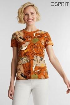 חולצת טי קצרה של Esprit בצבע חום עם הדפס